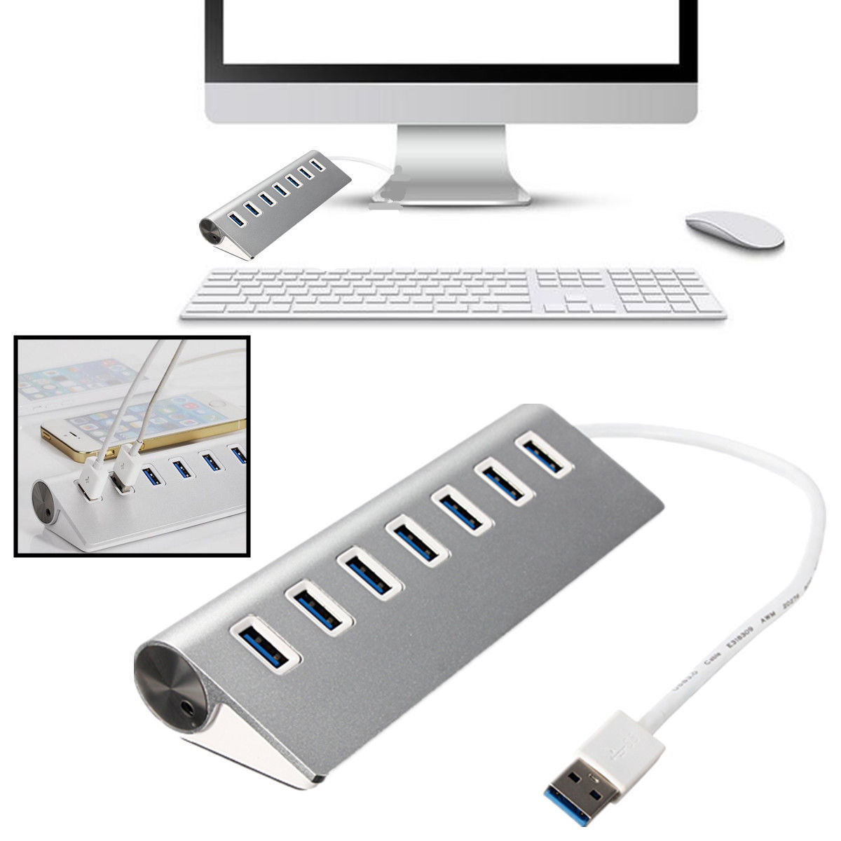 5gbps 7 port usb 3 0 hub aluminum high speed for apple mac. Black Bedroom Furniture Sets. Home Design Ideas